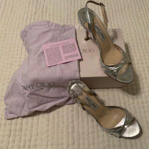 Jimmy Choo Silver Sandals; size 38.5